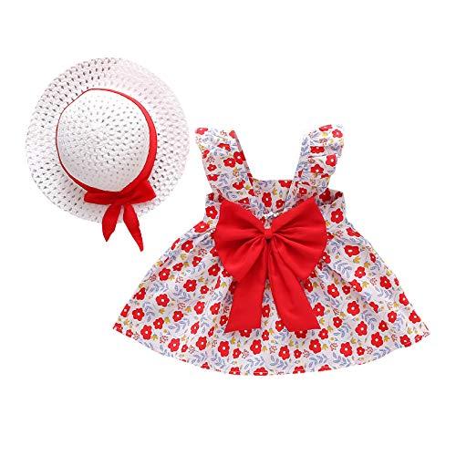 Kobay Frühling und Sommer Kleinkind Baby Kinder Mädchen Hosenträger Blumen Prinzessin Kleid Hut Kleidung Outfits