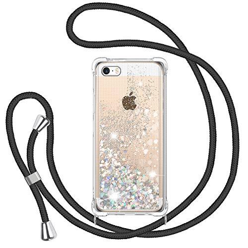 TUUT Funda Glitter Liquida con Cuerda para iPhone 5/5s/SE 2016, Glitter Cristal Suave Silicona TPU Bumper Protector Carcasa, Brillante Arena Movediza con Colgante Ajustable Cordón Case -Negro