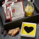 Artisano Designs Love Infused Heart Shape Olive Oil and Balsamic Vinegar Plate Dipping Dish, White