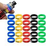 CESFONJER Vape Ringe Silikon Anti Rutsch Band | Silikon-Schutz-Vape-Bänder für RDA RBA RTA Mechanische Mods (25 Stück 5 Farben)