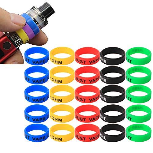 CESFONJER Vape Silicone Anti Slip Band - Confezione da 25 Anelli di Vape made - per RBA RDA Modelli meccanici del serbatoio - Diametro 22mm (5 Colori)