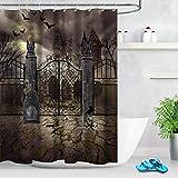 123456789 Halloween Cemetery Gate Fledermaus Schädel Stoff Badezimmer Duschvorhang