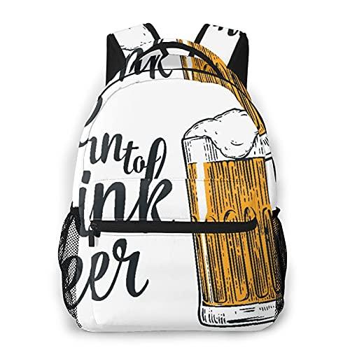 Zaino per laptop da viaggio,mano maschile che tiene un boccale di birra,zainetto per computer antifurto resistente all'acqua di grandi dimensioni,borsa da scuola universitaria sottile e resistente