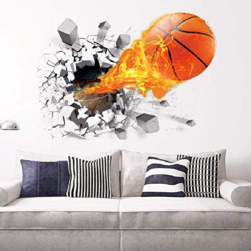 3D Flying Fire Basketball Self-Adhesive Removable Break Through The...