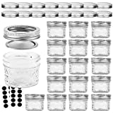 VERONES Mason Jars Canning Jars, 4 OZ Jelly Jars With Regular Lids and Bands, Ideal for Jam, Honey, Wedding Favors, Shower Favors, Baby Foods, DIY Magnetic Spice Jars, 16 PACK,Extra 16 Lids