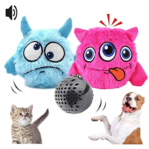 TaniMarc Juguete Lanzador Interactivo para Mascotas - Pelota Magica Antiestres para Perros o Gatos - Peluche Indestructible para Mordedor - Bolas de Escape Vibrante - Pack x2