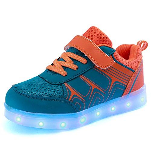DoGeek LED Schuhe Kinder Damen 7 Farbe USB Aufladen Leuchtend Sportschuhe LED Kinder Farbwechsel Sneaker Turnschuhe für Herren Damen (Wählen Sie 1 größere Größe)