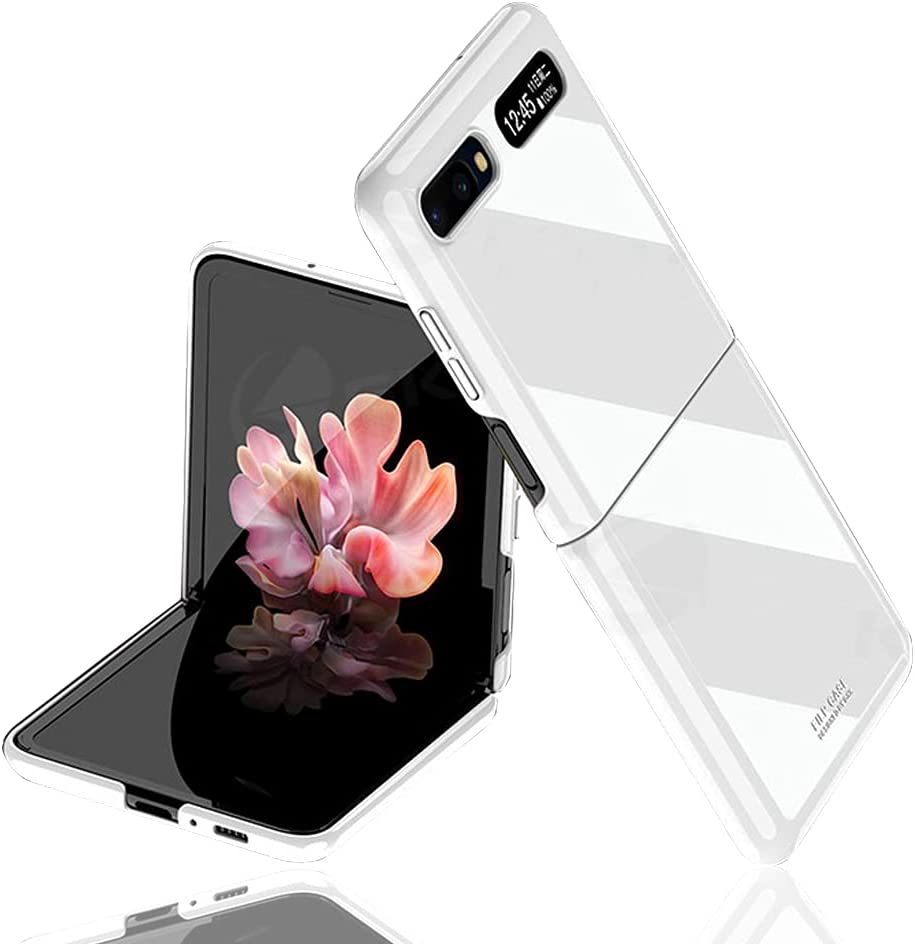 for Samsung Galaxy Z flip(5G Compatible) Case UV Bright Luxury Painted Full Protection Anti-Knock Cover Case (White)【Not for Z Flip 3】