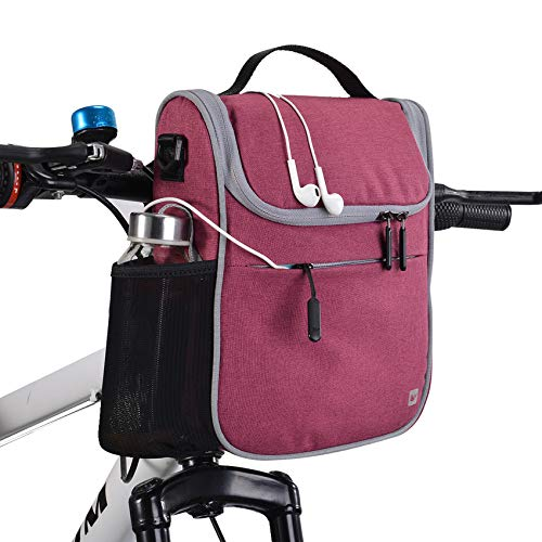 G-raphy 4L Bolsa de Manillar de Bicicletas de Carretera y de Montaña para Ciclismo, Bolsa Bici Impermeable Incluye Correa para el Hombro Extraíble y Cubierta para la Lluvia (Rojo)