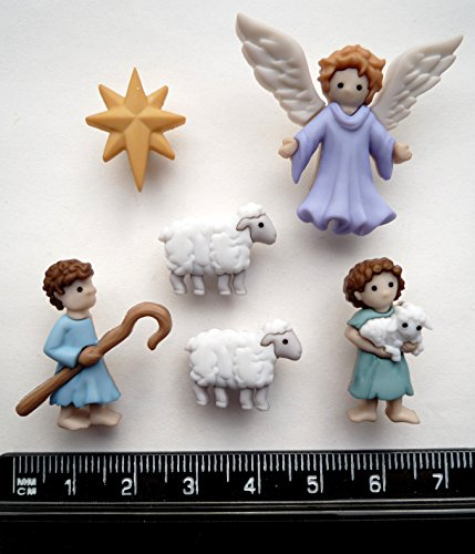 The Good Shepherd - Christmas Novelty Craft Buttons by Dress It Up