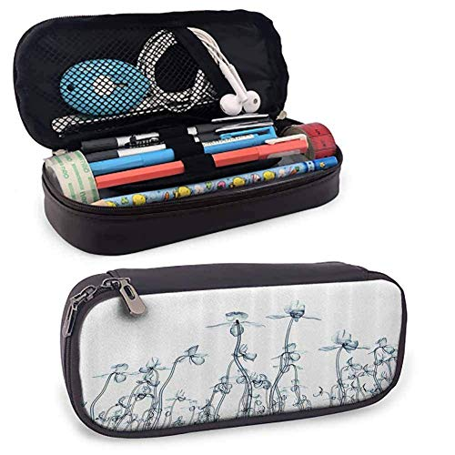 MHKG Ledermäppchen Xray Flower Decor PU Leather Small Pencil Pouch X ray Photo of a Group of Orchides Bottom to Top Rare Unseen Art in Complex Nature Art Color Pencils Pouch Teal White