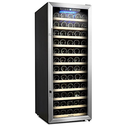Kalamera 80 Bottle Freestanding Compressor Wine Cooler-Stainless Steel & Black/Single Zone Thermostat with Touch Control/Blue LED Lighting