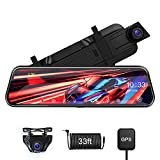 【Upgrade Voice Control】2.5K Mirror Dash Cam with GPS Front and Rear IPS Full Touch Screen Rear View Mirror Dash Cam 1080P Backup Camera Night Vision Sony Sensor Loop Recording G-Sensor Parking Monitor