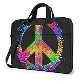 Hippie Peace Sign Impreso Laptop Bag, Bolso Business Shoulder Messenger Bag Maletín