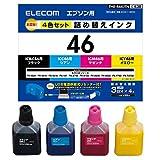 エレコム 詰め替え インク  EPSON エプソン IC46対応 4色キット(3回分) THE-46KITN     【お探しNo:E38】 THE-46KITN