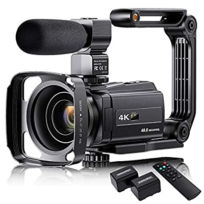 """4K Video Camera Camcorder with Microphone, VAFOTON 48MP Vlogging Camera for YouTube 16X Zoom 3.0"""" Touch Screen IR Night Vision Wi-Fi Vlog Cameras Webcam with Handheld Stabilizer Remote Control by VAFOTON"""
