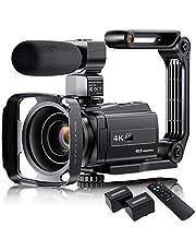"Cámara de vídeo 4K con micrófono, VAFOTON 48MP Vlogging Cámara para YouTube 16X Zoom 3.0"" Pantalla táctil IR visión nocturna Wi-Fi Vlog cámaras Webcam con estabilizador de mano Control remoto"