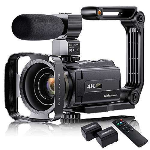 4K Video Camera Camcorder with Microphone, VAFOTON 48MP Vlogging Camera for YouTube 16X Zoom 3.0' Touch Screen IR Night Vision Wi-Fi Vlog Cameras Webcam with Handheld Stabilizer Remote Control