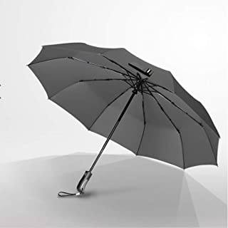 Automatic Umbrellas Household Folding Umbrellas Men and Women Windproof Large Reinforced Folding Umbrellas A Variety of Colors Available Huhero (Color : Gray)