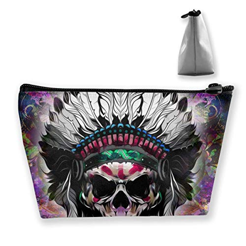 Womena € s Cosmetic Bag Hand-Drawn Indian Skull Makeup Bag Portable Toiletry Pouch Storage Pouch