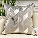 Avigers 18 x 18 Inches Grey Silver Striped Cushion Case Luxury European Throw Pillow Cover Decorative Pillow for Couch Living Room Bedroom Car