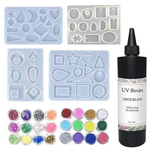 Resina UV transparente sin olor 500g + 4 moldes de silicona para aretes collares DIY colgantes + 12 polvo de brillo Holo 12 celofán, kit de manualidades de joyas joyería de resina