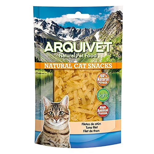 ARQUIVET Filetes de atún Pack 24 Unidades x 50 gr - Natural Cat Snacks, Snacks para Gatos 100% Naturales - Chuches, premios, golosinas y recompensas para felinos
