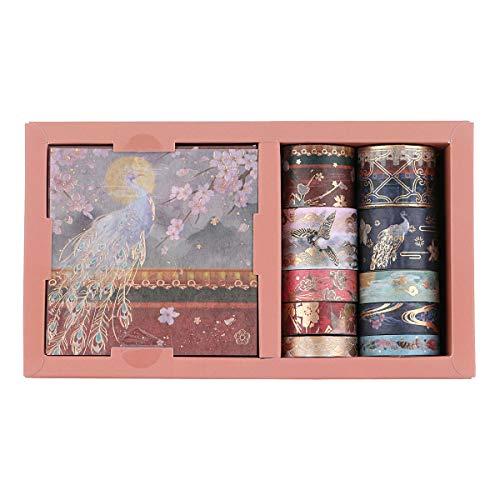 RisyPisy Washi Tape Set, Forbidden City Dorada Serie Masking Tapes, 10 Rollos de Cinta Adhesiva Decorativa Y 10 Hojas de Adhesivos de Colores para for Scrapbooking, Bullet Journal, Planners, Crafts