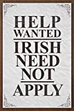 Kalynvi Vintage Retro Metal Sign 12X16Inch,Help Wanted Irish Need Not Apply Vintage,Yard Iron Painting Tin Sign Vintage Wall Decor for Cafe Bar Pub Home