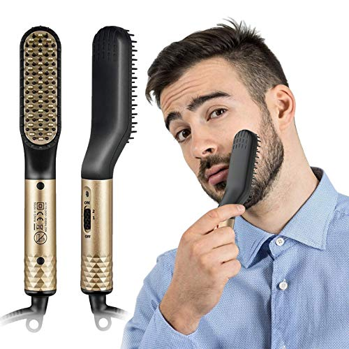 Cepillo Alisador de Barba, Plancha de Pelo y Barba Profesional, Peine Barba Electrico para el cabello y barba de Hombre 2 in 1Multifuncional Peine de Pelo Liso para Hombre Mujer(Con Enchufe de EU)