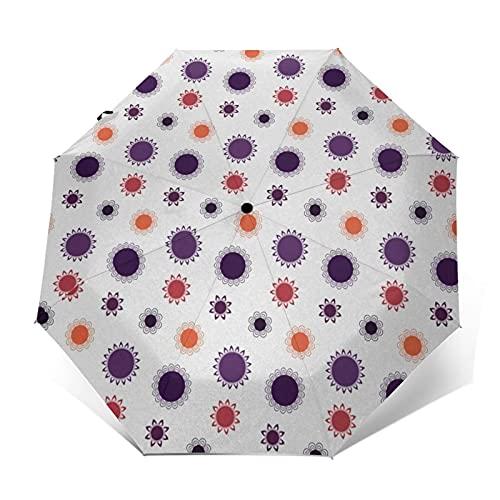 Paraguas Plegable Automático Impermeable Mandala 572, Paraguas De Viaje Compacto A Prueba De Viento, Folding Umbrella, Dosel Reforzado, Mango Ergonómico
