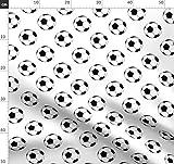 Bälle, Sport, Fußball, Schwarz Und Weiß Stoffe - Individuell Bedruckt von Spoonflower - Design von Mtothefifthpower Gedruckt auf Baumwollstoff Klassik