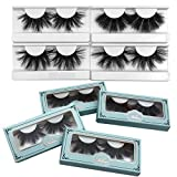 25mm Mink Lashes Mikiwi, Real Mink Lashes, Thick HandMade Full Strip Lashes, Crueltyl Free Fluffy Lash, Luxury Makeup, Dramatic 3D Mink Lashes … (4 PACK-B)