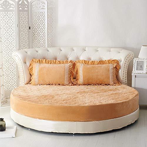 HPPSLT Protector de colchón/Cubre colchón Acolchado de Fibra antiácaros, Transpirable, Sábana Redonda Engrosada Acolchada-Camel-Espesada_2.2m