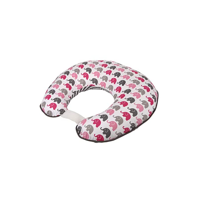 crib bedding and baby bedding bacati - elephants pink/grey girls nursing pillow with polyfilled insert ultra-soft 100% cotton fabric in a fashionable two-sided design