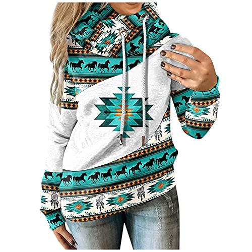 Hoodies Damen Pullover im ethnischen Stil mit geometrischem Druck Retro Kapuzenoberteile mit Pferdemotiv Tunikabluse mit Latzkragen und Langen Ärmeln Warmes Winter Plüsch Sweatshirt Leichter Mantel