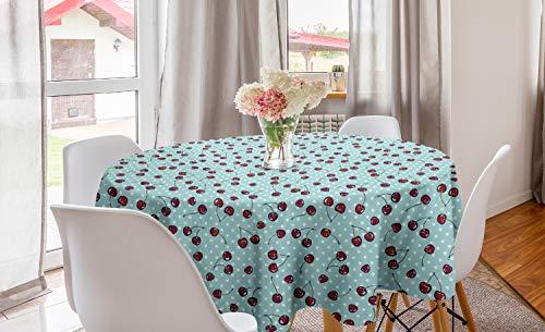 ABAKUHAUS Cerise Nappe Ronde, Fruit Dots Nostalgiques, Nappe en Cercle pour Salle à Manger ou Cuisine, 150 cm, Vermilion Écume Blanc