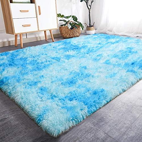 Blue fluffy rug