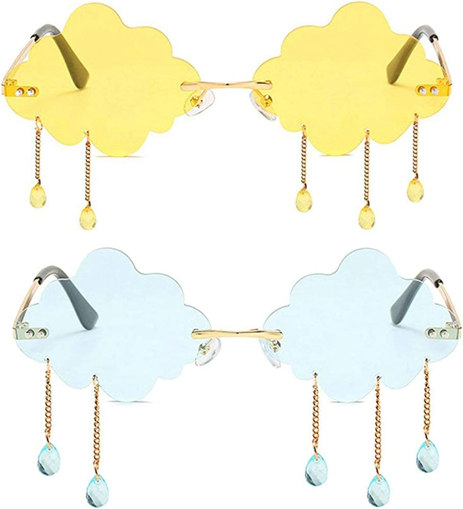 Vintage Rimless Sunglasses Women 2020 Clo Soldering Irregular Fashion Blue Translated