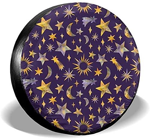 Stars Moon Sun - Cubierta de Repuesto para llanta,poliéster,Universal,de 15 Pulgadas,para Llantas de Repuesto para remolques,Casas rodantes,SUV,Ruedas de Camiones,Camiones,caravanas,Accesorios para r