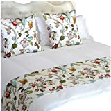 YIH Queen Bed Runner Scarf, White Floral Bedroom Bedding Decor for Hotel Guesthouse Protector Slip Cover for Pets, 1 Bed Runner + 2 Cushion Covers 94' x 19'