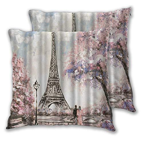 ALLMILL Federe Cuscino 50x50cm,2 Pezzi Fiore Rosa Romantico Amante della Torre Eiffel di Parigi Decorativo per Auto Sofà Divano Ufficio Salotto Home Decor