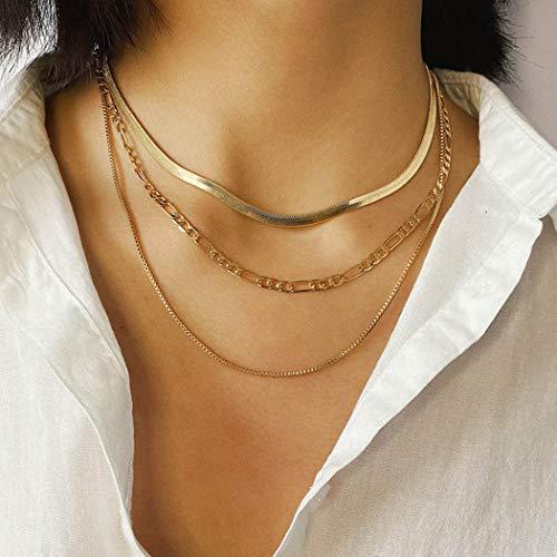 Sethain Moda Girocollo a strati Collana Oro Catena di ossa di serpente a più strati Metallo Collane chic Gioielli per donne e ragazze