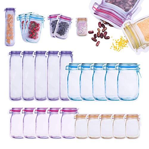 Shengruili Bolsas de almacenamiento de alimentos con cierre de cremallera, 20 unidades