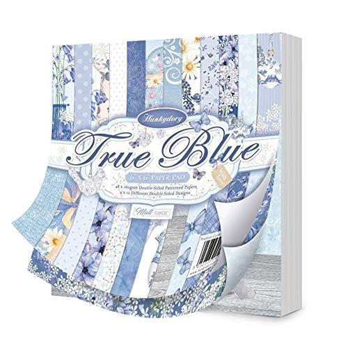 Hunkydory Crafts True Blue Papierblock, 15,2 x 15,2 cm, 48 x 169 g/m², doppelseitig