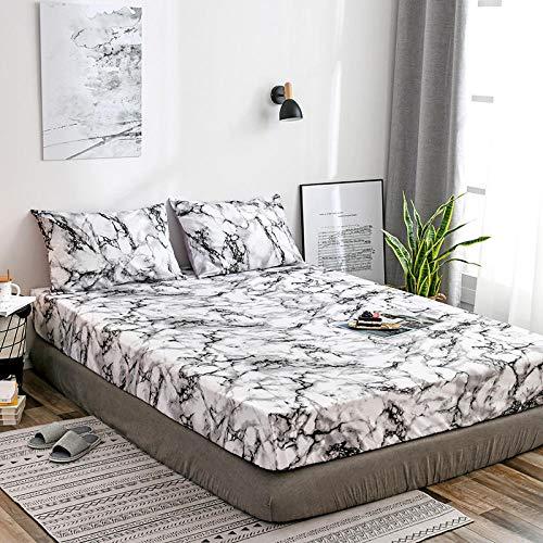 HPPSLT Protector de colchón, algodón, poliéster, Funda Protectora Antideslizante para sábana-Blanca_198 * 203 * 35cm