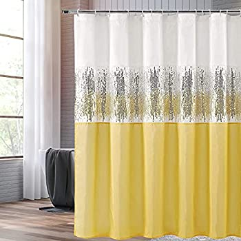Shower Curtains for Bathroom Sequin Fabric Shimmery Color Block Design for Bathroom White and Yellow with 12 Hooks 72  x 72