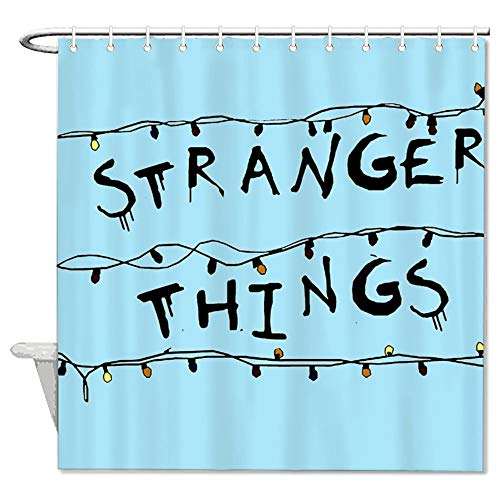 "VinMea Stranger Things Blue Polyester Waterproof Fabric Bath Curtain with Hooks,Shower Curtain For Bathroom Decor 72"" X 72"""