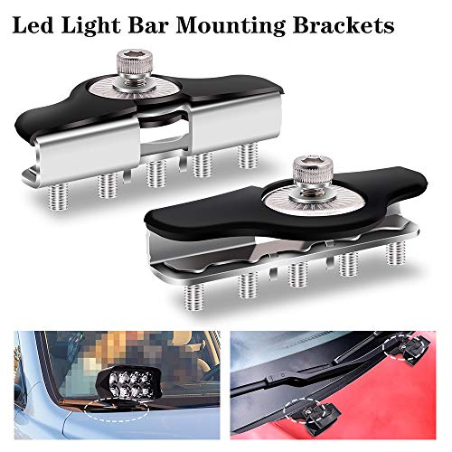 Biqing 2PCS Montaje de Barra de Luz de Trabajo LED Soporte,Universal Luz del Trabajo de la Capilla LED del Coche de Acero Inoxidable para Foco Led Tractor/Off Road/Camión/SUV