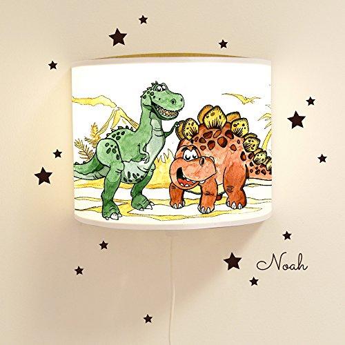 Leseschlummerlampe Leselampe Schlummerlampe Kinderlampe Lampe Dinosaurier mit Wandtattoo und Wunschnamen Lampe mit fluoreszierenden Elementen und Nachleuchteffekt Ls17 - mit Wandtattoo